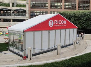 Hardsided PVC marquees and glass walling can be used to create a more polished structure.