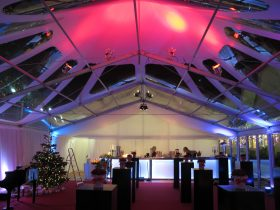 Conical clear roof marquee, striking event setting