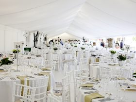 Crisp white flat marquee linings