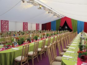 Marquee flat stock lining with coloured drapes