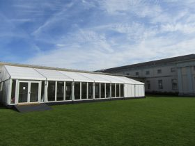 Glass wall corporate marquee