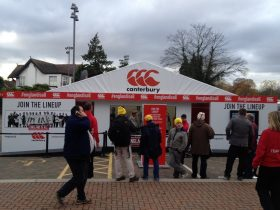 A hire marquee can be branded in a number of ways, contact Key Structures Ltd to find out more.