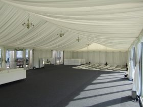 Pleated interior marquee linings