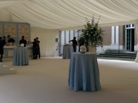 Marquee interior pleated lining