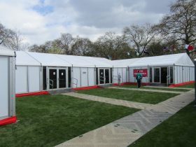 Sporting event marquee hire by Key Structures London
