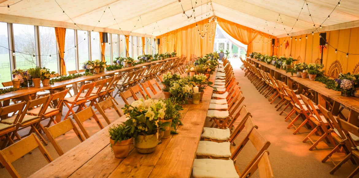 Wedding marquee festoon lighting
