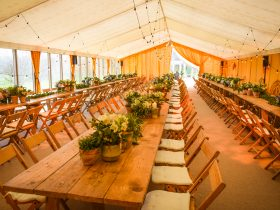 Wedding marquees festoon lighting